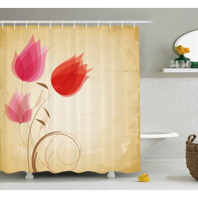 Tulips Shower Curtain Size: 69 H x 75 W