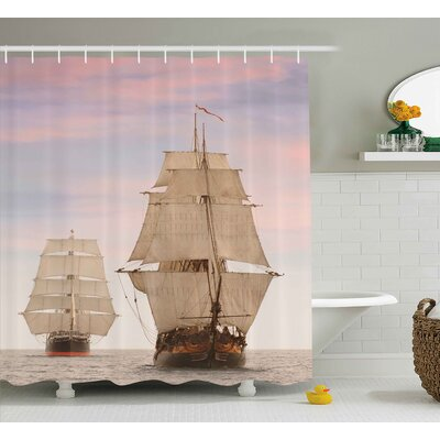 Wooden Sailing Ships Shower Curtain Size: 69 H x 75 W