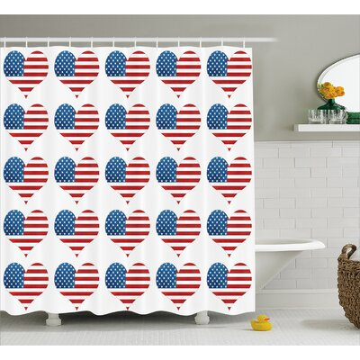 Heart Figures with Flag  Decor Shower Curtain Size: 69 H x 70 W