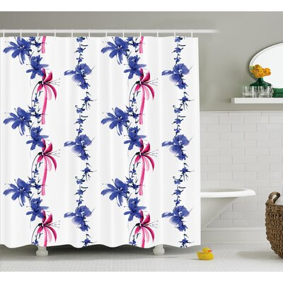 Irises In Watercolor Decor Shower Curtain Size: 69 H x 75 W