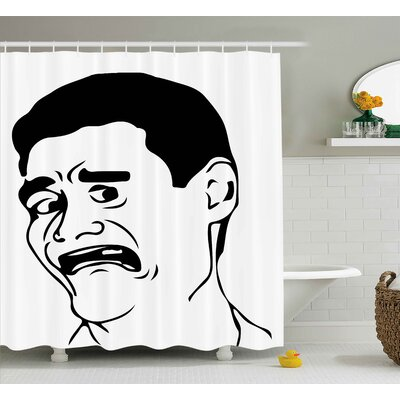 Wtf facial Man Decor Shower Curtain Size: 69 H x 70 W