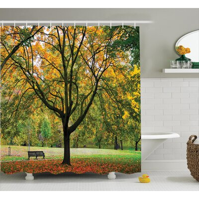 Clovis Bench Under The Tree Decor Shower Curtain Size: 69 H x 75 W