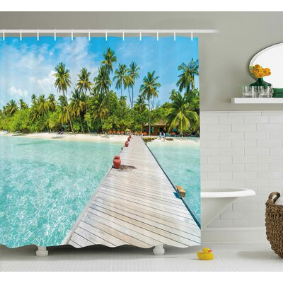 Maldives Island Shower Curtain Size: 69 H x 70 W