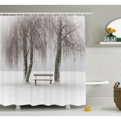 Clovis Bench and Tree in Winter Decor Shower Curtain Size: 69 H x 70 W