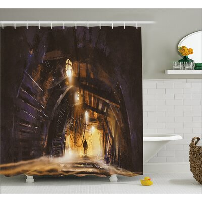 Underground Tunnel Decor Shower Curtain Size: 69 H x 84 W