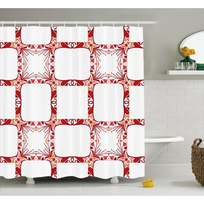 Square Shaped Mixed Tiles Decor Shower Curtain Size: 69 H x 75 W