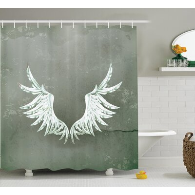 Old-Fashion Arms Wings Decor Shower Curtain Size: 69 H x 84 W