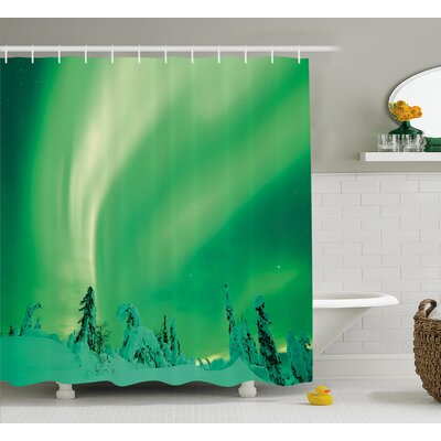 Snowy Pine Shower Curtain Size: 69 H x 84 W