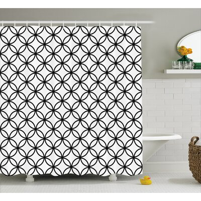 Circle Interlace Decor Shower Curtain Size: 69 H x 75 W