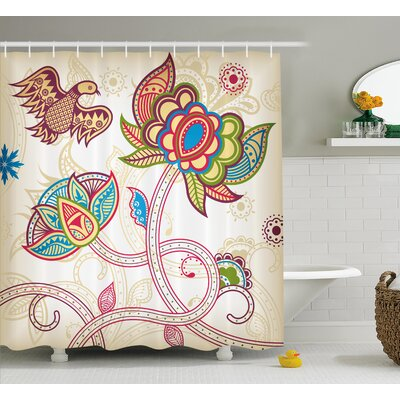 Embellished Birds Shower Curtain Size: 69 H x 75 W