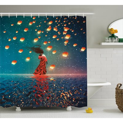 Sorcerer Woman Decor Shower Curtain Size: 69 H x 84 W