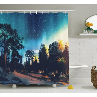 Enchanted Night Decor Shower Curtain Size: 69 H x 84 W