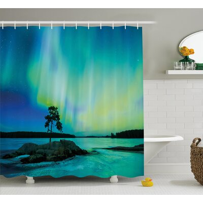 River Borealis Shower Curtain Size: 69 H x 70 W