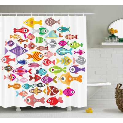 Rounded Different Fish Decor Shower Curtain Size: 69 H x 70 W