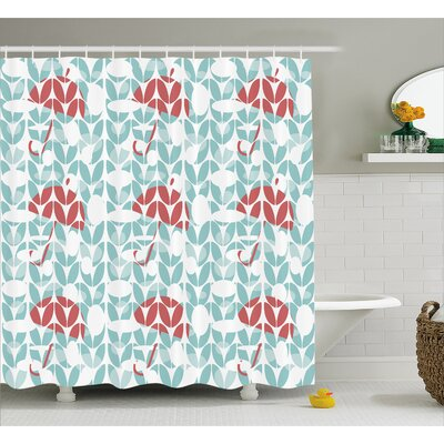 Umbrella Geometric Decor Shower Curtain Size: 69 H x 70 W