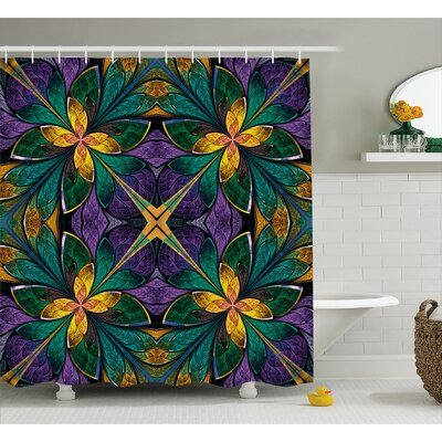 Symmetric Shower Curtain Size: 69 H x 70 W