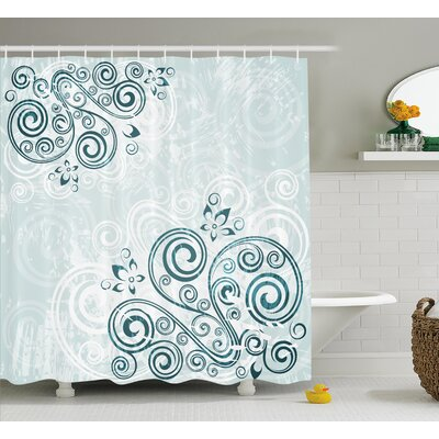 Swirled Leaves Shower Curtain Size: 69 H x 75 W