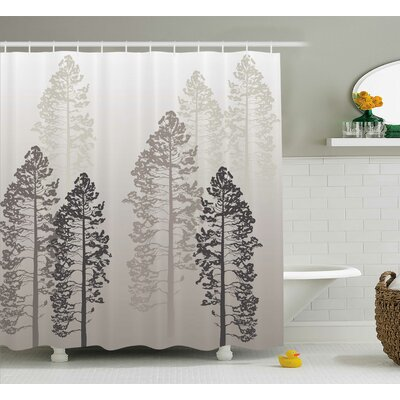 Fall Tree Decor Woven Shower Curtain Size: 69 H x 75 W