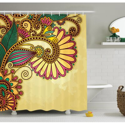 Paisley Flower Decor Shower Curtain Size: 69 H x 84 W