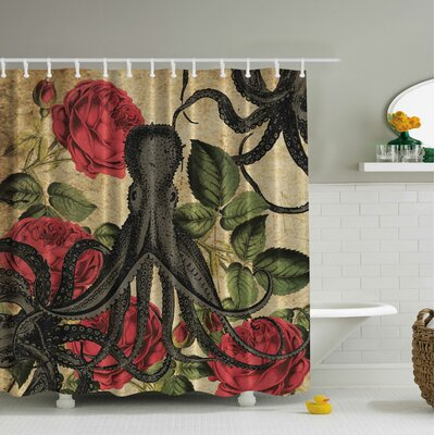 Vintage Octopus Roses Print Shower Curtain