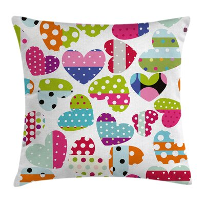 Heart Patches and Dots Square Pillow Cover Size: 18 x 18