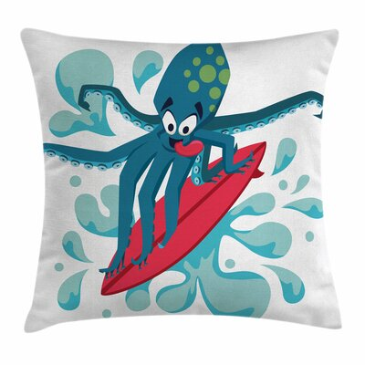 Surfer Octopus Square Cushion Pillow Cover Size: 16 x 16