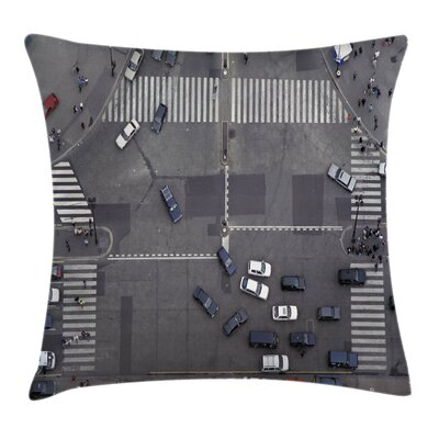 Road Intersection Paris Square Pillow Cover Size: 18 x 18