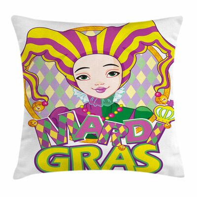 Mardi Gras Carnival Girl Pillow Cover Size: 20 x 20