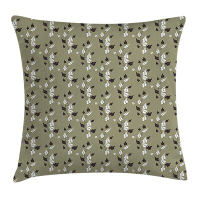 Curvy Garden Flowers Cushion Pillow Cover Size: 18 x 18