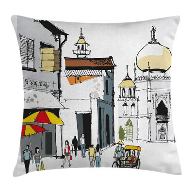 Old Singapore Cityscape Square Pillow Cover Size: 18 x 18
