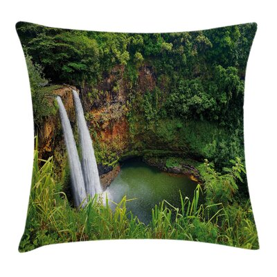 Twin Waterfalls Hawai Square Pillow Cover Size: 24 x 24