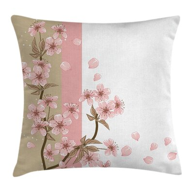 Japanese Flowers Pillow Cover Size: 18 x 18