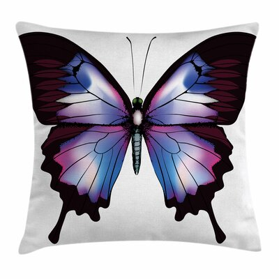Swallowtail Vivid Magic Animal Square Cushion Pillow Cover Size: 16 x 16, Color: Blue