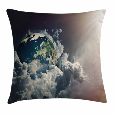 Abstract Planet Clouds Square Pillow Cover Size: 18 x 18