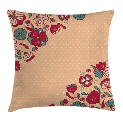 Flowers and Polka Dots Square Pillow Cover Size: 16 x 16