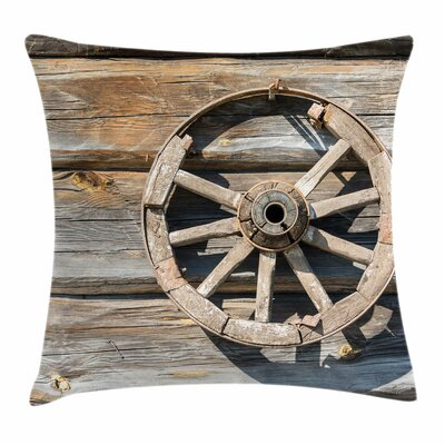 Wheel Old Log Wall Cart Square Pillow Cover Size: 24 x 24