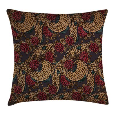 Asian Traditional Roses Dragon Cushion Pillow Cover Size: 24 x 24