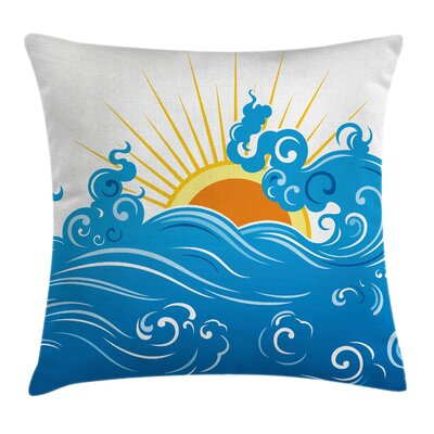 Curved Ocean Waves Sun Square Pillow Cover Size: 18 x 18