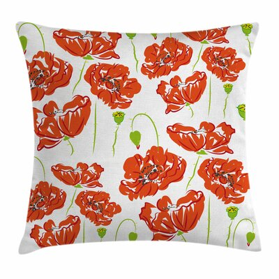 Anemone Doodle Poppies Square Cushion Pillow Cover Size: 16 x 16