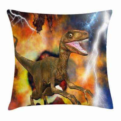 Dinosaur Explosion Theme Animal Square Cushion Pillow Cover Size: 18 x 18
