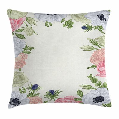 Anemone Spring Nature Square Cushion Pillow Cover Size: 16 x 16, Color: White/Salmon