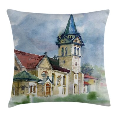 Medieval Landscape Old Square Pillow Cover Size: 16 x 16