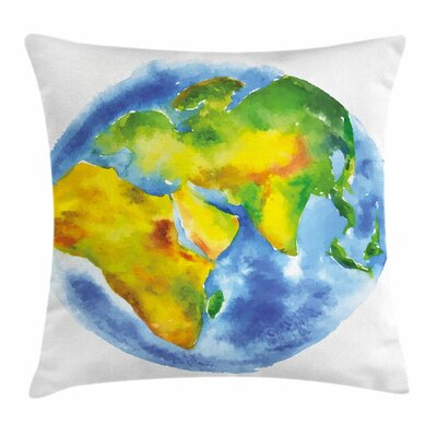 Modern Earth Watercolor Style Planet Square Pillow Cover Size: 16 x 16