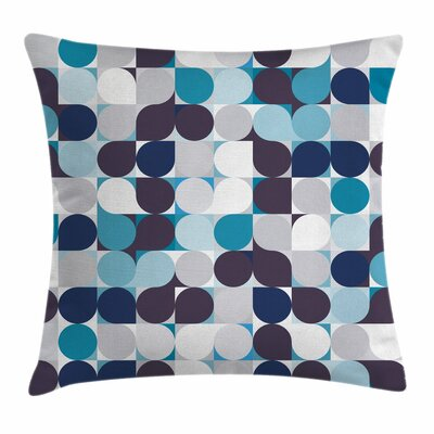 Retro Circles Squares Cushion Pillow Cover Size: 24 x 24