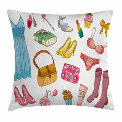 Heels and Dresses Girlish Items Square Pillow Cover Size: 16 x 16