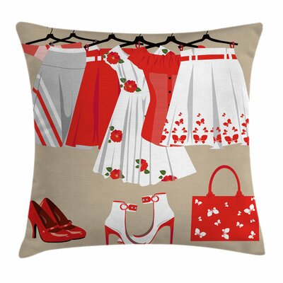 Heels and Dresses Clothes Shoes Square Pillow Cover Size: 16 x 16