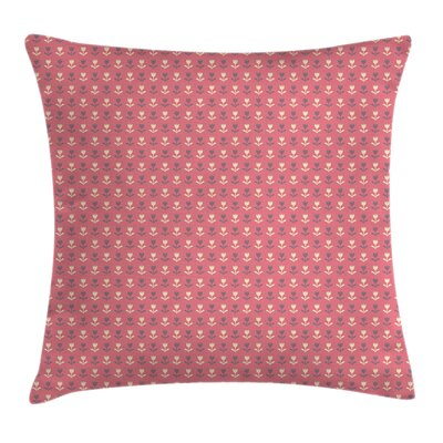 Romantic Tulip Flowers Cushion Pillow Cover Size: 18 x 18