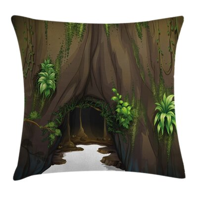 Fantasy Tree Cave Moss Square Pillow Cover Size: 18 x 18