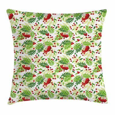 Leaves Wild Fruits Square Pillow Cover Size: 16 x 16