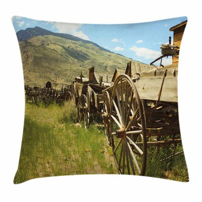 Wheel Old Carriages Line Square Pillow Cover Size: 24 x 24